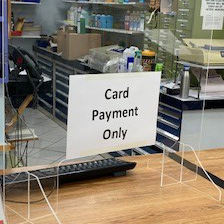 Card payment only shielding screen