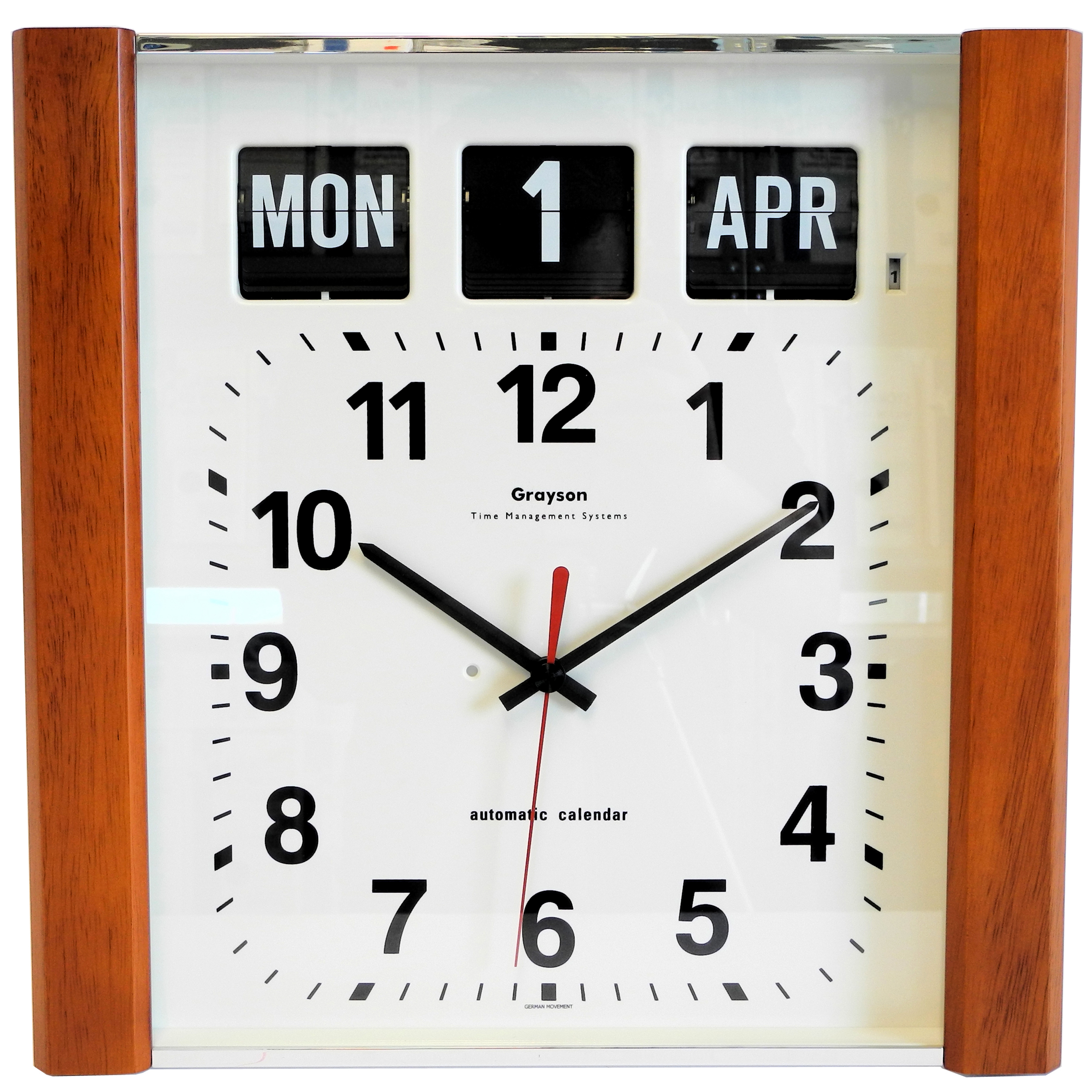 Grayson wall flip clock time day date 12000 wall clocks wooden panelled perpetual calendar clock g239wd amipublicfo Choice Image