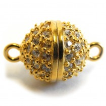 Magnetic Gold Plated Silver Clasp with Zirconias 10mm