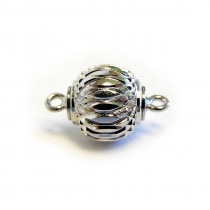 Magnetic Clasp Silver Plate 10mm Patterned - FC4498