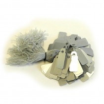 Jewellery Tags Tie On Silver 8x20mm Rectangle (Pack Of 100) - HL441
