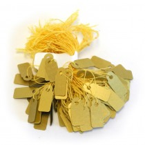 Jewellery Tags Tie On Gold 8x20mm Rectangle (Pack Of 100) - HL442