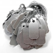 Jewellery Tags Tie On Silver 10x22mm Rectangle (Pack Of 100) - HL443