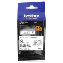 9mm Black on White (Strong Adhesive) Brother P-Touch Tape TZeS221 - HTZS221