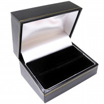 Ring Box Double (Case) Black 75mm x 51mm x 39mm - SP827