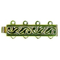 4 Row, Gold Plated Silver Clasp - FC4445